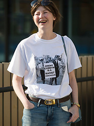 """© Licensed to London News Pictures. 02/09/2018. London, UK.  A woman with a """"Jeremy Corbyn is a racist endevour"""" tee shirt arrives at the Jewish Labour Movement Conference 2018..  Photo credit: Vickie Flores/LNP"""