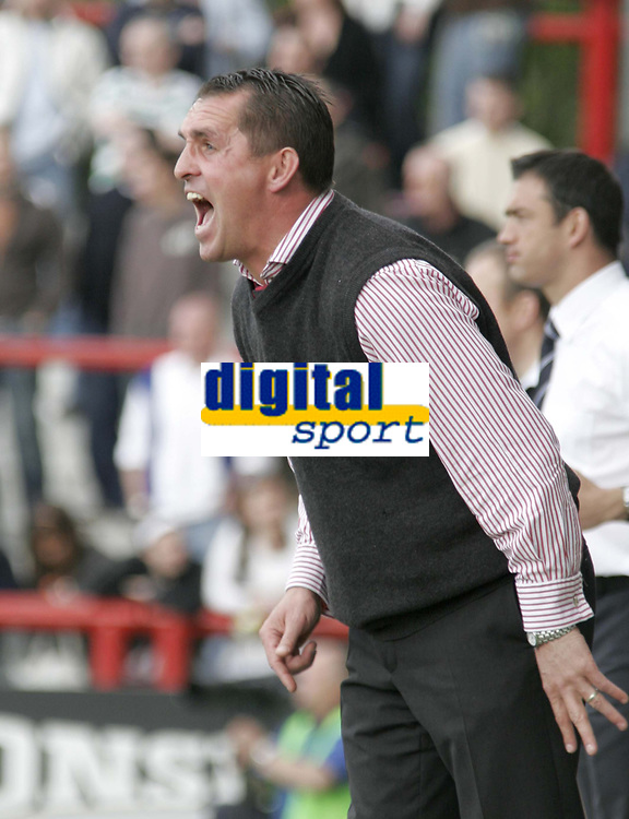 Brentford Manager Martin Allen makes his point. Hartlepool Manager Paul Stephenson is in background