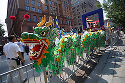 July 4, 2018 - Philadelphia, Pennsylvania, USA - Floats are prepared for the Independence Day Parade in the city's historic district, beginning at Independence Hall where the Declaration of Independence was signed in 1776. (Credit Image: © Michael Candelori via ZUMA Wire)