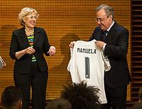 Real Madrid CF presidents, Florentino Perez and the Mayor of Madrid, Manuela Carmena during the Real Madrid CF reception at Madrid city hall after winning the Champions League May 29,2016. (ALTERPHOTOS/Rodrigo Jimenez)
