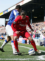 Photo: Paul Thomas.<br /> Blackburn Rovers v Liverpool. The Barclays Premiership. 16/04/2006.<br /> <br /> Liverpool's Harry Kewell is put under pressure by Lucas Neill.