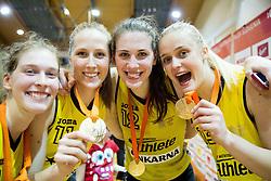 Alma Potocnik of Athlete Celje, Zala Lesek of Athlete Celje, Eva Lisec of Athlete Celje and Larisa Ocvirk of Athlete Celje celebrate after winning during basketball match between ZKK Athlete Celje and ZKK Triglav in Finals of 1. SKL for Women 2014/15, on April 20, 2015 in Gimnazija Celje Center, Celje, Slovenia. ZKK Athlete Celje became Slovenian National Champion 2015. Photo by Vid Ponikvar / Sportida