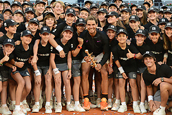 May 14, 2017 - Madrid, Spain - RAFAEL NADAL OF Spain poses with the ballkids after winning the Mutua Madrid Open tennis tournament. (Credit Image: © Christopher Levy via ZUMA Wire)