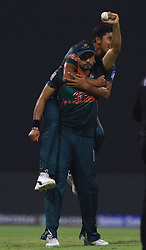 September 26, 2018 - Abu Dhabi, United Arab Emirates - Bangladesh cricket  captain Mashrafe Mortaza celebrates after taking  a catch  during the Asia Cup 2018 cricket match  between Bangladesh and Pakistan at the Sheikh Zayed Stadium,Abu Dhabi, United Arab Emirates on September 26, 2018  (Credit Image: © Tharaka Basnayaka/NurPhoto/ZUMA Press)