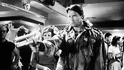 Arnold Schwarzenegger as an unstoppable killing machine in the science fiction thriller  'Terminator' 1984.