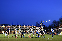 Wasps number 8 Nathan Hughes wins the line-out ball in Aviva Premiership game against Wasps at the Recreation Ground - Photo mandatory by-line: Paul Knight/JMP - Mobile: 07966 386802 - 10/01/2015 - SPORT - Rugby - Bath - The Recreation Ground - Bath Rugby v Wasps - Aviva Premiership