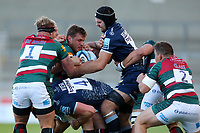 Rugby Union - 2020 / 2021 Gallagher Premiership - Round 18 - Sale Sharks vs Leicester Tigers - A J Bell Stadium<br /> <br /> Josh Beaumont and Cobus Wiese of Sale Sharks tackle  Hanro Liebenberg of Leicester Tigers