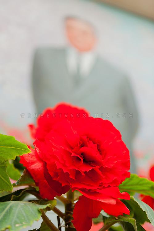 Kim Il Sung and a Kimjongilia flower, Pyongyang, DPRK (North Korea)