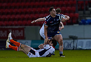 Sale Sharks centre Rohan Janse van Rensburg breaks through the Edinburgh Rugby defence during the European Champions Cup match Sale Sharks -V- Edinburgh Rugby at The AJ Bell Stadium, Greater Manchester,England United Kingdom, Saturday, December 19, 2020. (Steve Flynn/Image of Sport)