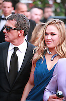 Antonio Banderas and Ronda Rousey at the The Expendables 3 red carpet at the 67th Cannes Film Festival France. Sunday 18th May 2014 in Cannes Film Festival, France.