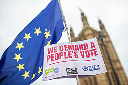 © Licensed to London News Pictures. 18/12/2018. London, UK. Anti-Brexit protesters wave European Union flags opposite Parliament. Tomorrow will mark 100 days to go before the 29 March 2019 deadline for leaving the European Union. Photo credit: Rob Pinney/LNP