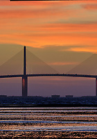 Sunshine Skyway Bridge at Dawn from Fort De Soto Park. Split print 3 of 6 images taken with a Fuji X-H1 camera and 200 mm f/2 OIS lens (ISO 400, 200 mm, f/11, 1/20 sec). Raw images processed with Capture One Pro and AutoPano Giga Pro.