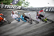 #101 (BRIZUELA Matias Jesus) ARG and #87 (WHYTE Kye) GBR at Round 6 of the 2019 UCI BMX Supercross World Cup in Saint-Quentin-En-Yvelines, France