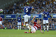 Ashley Williams of Everton wins the ball from Adam Forshaw of Middlesbrough. Premier league match, Everton v Middlesbrough at Goodison Park in Liverpool, Merseyside on Saturday 17th September 2016.<br /> pic by Chris Stading, Andrew Orchard sports photography.