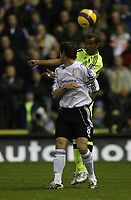 Photo: Steve Bond/Sportsbeat Images.<br />Derby County v Chelsea. The FA Barclays Premiership. 24/11/2007.Ashley Cole (back) heads the ball past Matt Oakley