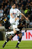 FOOTBALL - FRENCH CHAMPIONSHIP 2010/2011 - L1 - OLYMPIQUE MARSEILLE v AS NANCY - 16/10/2010 - PHOTO PHILIPPE LAURENSON / DPPI - ANDRE-PIERRE GIGNAC (OM) / JO?L SAMI (NAN)