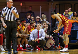 Mar 6, 2019; Morgantown, WV, USA; Iowa State Cyclones head coach Steve Prohm talks with Iowa State Cyclones guard Nick Weiler-Babb (1) during the first half against the West Virginia Mountaineers at WVU Coliseum. Mandatory Credit: Ben Queen-USA TODAY Sports