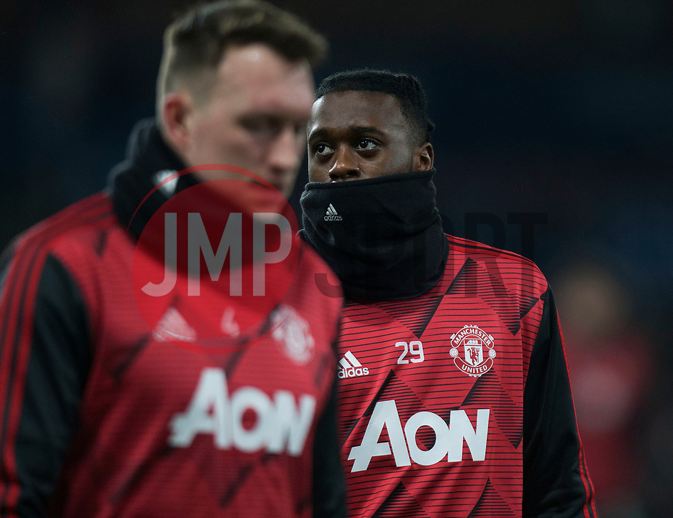 Aaron Wan-Bissaka of Manchester United (R) warms up - Mandatory by-line: Jack Phillips/JMP - 28/12/2019 - FOOTBALL - Turf Moor - Burnley, England - Burnley v Manchester United - English Premier League