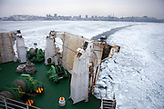 "Ice is covering the exit of Vladivostok port and the cruiser ""Eastern Star"" is guided by navigators into direction South Korea. Vladivostok, Wladiwostok, Primorsky Krai, Russian Federation, Russia, RUS, 27.01.2010"