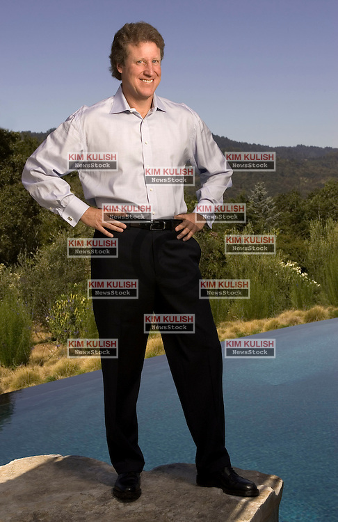 Portola Valley, Calif., AUG 20, 2004--Mark T. Curtis, Managing Director, Corporate Client Group, for Smith Barney, Citigroup based in Palo Alto, Calif., poses for a portrait at his home in Portola Valley, Calif. Aug 20, 2004. Photo by Kim Kulish