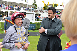 Let to right, FRANKIE DETTORI and SHEIKH JOAAN BIN HAMAD BIN KHALIFA AL-THANI of Qatar at day 3 of the Qatar Glorious Goodwood Festival at Goodwood Racecourse, Chechester, West Sussex on 28th July 2016.