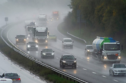 ©Licensed to London News Pictures 13/10/2020  <br /> Swanley, UK. Very wet driving conditions on the M25 near Swanley in Kent this afternoon as the rain continues. Photo credit:Grant Falvey/LNP