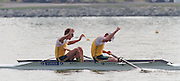 St Catherines, CANADA,  Men's Pair  AUS M2- bow. Drew GINN , James TOMKINS, Gold Medalist, competing,  1999 World Rowing Championships - Martindale Pond, Ontario. 08.1999..[Mandatory Credit; Peter Spurrier/Intersport-images]  .. 1999 FISA. World Rowing Championships, St Catherines, CANADA