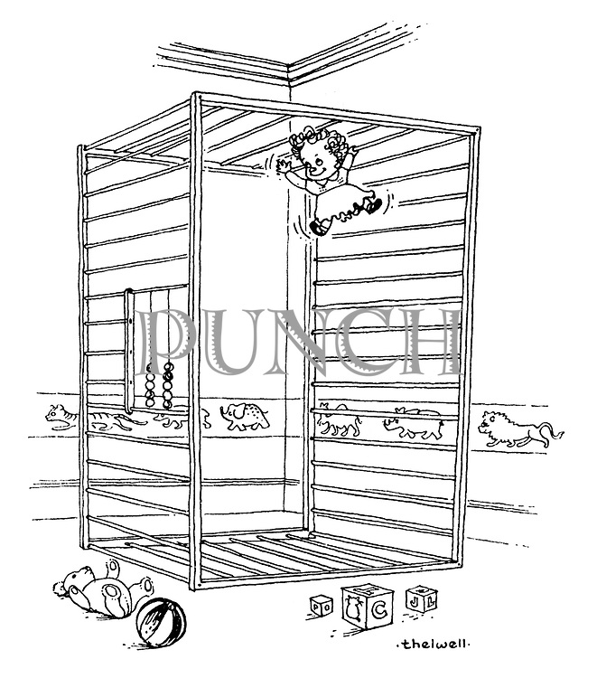 (A baby uses its overturned playpen as a climbing frame)