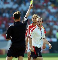 Fotball, 17. juni 2004, EM, Euro 2004, Sveits- England, WAYNE ROONEY  ENGLAND BOOKED<br /> <br /> Foto: Digitalsport