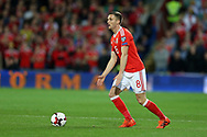Andy King of Wales in action. Wales v Rep of Ireland , FIFA World Cup qualifier , European group D match at the Cardiff city Stadium in Cardiff , South Wales on Monday 9th October 2017. pic by Andrew Orchard, Andrew Orchard sports photography