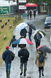 © Licensed to London News Pictures. 26/07/2017. Llanelwedd, Powys, Wales, UK. Wet start on the third day of the Royal Welsh Show. The Royal Welsh Agricultural Show is hailed as the largest & most prestigious event of its kind in Europe. In excess of 200,000 visitors are expected this week over the four day show period. The first ever show was at Aberystwyth in 1904 and attracted 442 livestock entries. Photo credit: Graham M. Lawrence/LNP