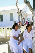 Women at church, Kosrae, FSM, Micronesia
