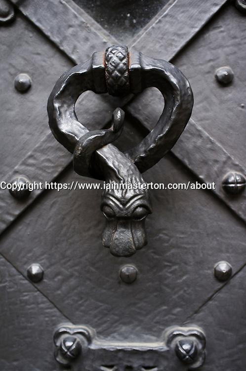 Detail of door handle at Prague Castle  in Czech Republic