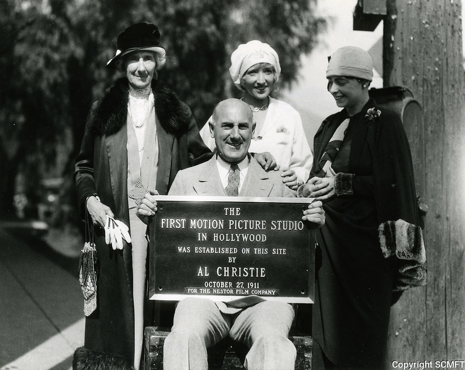 1928 Al Christie with his mother (left), his wife or sister in law (center), and Mrs. David Horsley at the dedication of Christie Studios