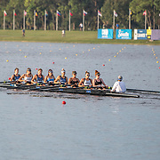 Pre-race training Emma Dyke, Lucy Spoors, Rebecca Scown, Kelsi Walters, Kelsey Bevan, Georgia Perry, Ashlee Rowe, Ruby Tew and coxswain Sam Bosworth New Zealand Womens Eight<br /> <br /> Semi-Finals races at the World Championships, Sarasota, Florida, USA Friday 29 September 2017. Copyright photo © Steve McArthur / Rowing NZ