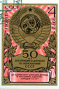 Soviet stamp. The constitution of Soviet Union, circa 1972.