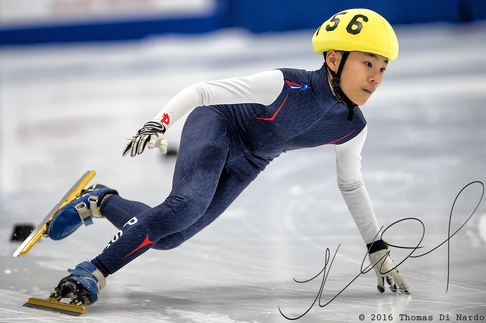 March 18, 2016 - Verona, WI - Seung-Min Kwon, skater number 156 competes in US Speedskating Short Track Age Group Nationals and AmCup Final held at the Verona Ice Arena.