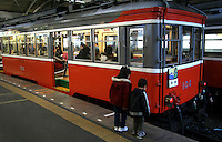 The 'Tozan' Line choo-choo train that goes through the mountains of Fuji Hakone National Park. Hakone, as it is usually called, is a favorite getaway for Tokyo residents of all ages for Mt Fuji, its lakes and hundreds of hot springs.