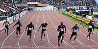 30.Juni 2011; Lausanne; Leichtathletik - Athletissima 2011; Pascal Mancini (SUI), Churandy Martina (NED), Nesta Carter (JAM), Christophe Lemaitre (FRA), Asafa Powell (JAM), Michael Frater (JAM), Jaysuma Saidy Ndure (NOR) und Felix Goeltl (GER) (links nach rechts) (Claude Diderich/freshfocus)