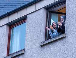 Clap for Carers, Edinburgh, 02 April 2020 <br /> <br /> Pictured: Residents in Edinburgh's New Town show their appreciation for vital workers supporting the country during the COVID-19 crisis <br /> <br /> (c) Richard Dyson | EdinburghElitemedia.co.uk 2020