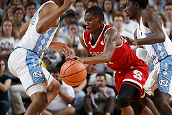 CHAPEL HILL, NC - JANUARY 27: Markell Johnson #11 of the North Carolina State Wolfpack plays against the North Carolina Tar Heels on January 27, 2018 at the Dean Smith Center in Chapel Hill, North Carolina. North Carolina lost 95-91. (Photo by Peyton Williams/UNC/Getty Images) *** Local Caption *** Markell Johnson