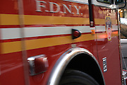 close up of a New York fire truck in motion