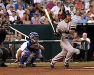 July 26, 2007 - Kansas City, MO..New York Yankees left fielder Hideki Matsui singles to right field against the Kansas City Royals at Kauffman Stadium in Kansas City, Missouri on July 26, 2007...MLB:  The Royals defeated the Yankees 7-0.  .Photo by Peter G. Aiken/Cal Sport Media
