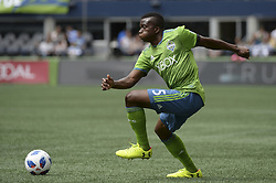 May 26, 2018 - Seattle, Washington, U.S - MLS Soccer 2018: The Sounders NOUHOU (5) pushes up the field as Real Salt Lake visits the Seattle Sounders in a MLS match at Century Link Field in Seattle, WA. (Credit Image: © Jeff Halstead via ZUMA Wire)