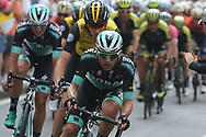 72 Cesare Benedetti BORA – hansgrohe leads the peleton during stage 17 of the Giro D'Italia, Iseo Italy on 23 May 2018. Picture by Graham Holt.