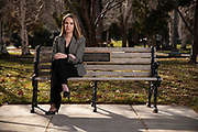 Carson City, Nevada- December 7, 2020: Bailey Bortolin poses for a portrait on the Nevada State Capitol Complex grounds in Carson City, Nevada on Monday, December 7, 2020. Bortolin is a legal aid lawyer and tenants rights advocate who works for Nevada Coalition of Legal Service Providers which has been assisting extended stay motel residents in Nevada who are under threat of eviction in spite of federal eviction moratoriums.<br />Credit: Salgu Wissmath for the New York Times