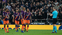 Football - 2018 / 2019 UEFA Champions League - Quarter Final , First Leg: Tottenham Hotspur vs. Manchester City<br /> <br /> Manchester city players hold an inquest after conceding a goal at White Hart Lane Stadium.<br /> <br /> COLORSPORT/DANIEL BEARHAM