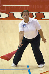 13 October 2012: corner official during an NCAA volleyball game between the Drake Bulldogs and the Illinois State Redbirds.  The Redbirds won the match in 3 straight sets at Redbird Arena in Normal Illinois