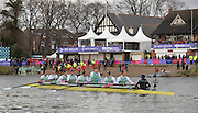 Putney - Chiswick, London,  Great Britain.<br /> Cambridge move in to disembark after winning the  2016 University Boat Race, Oxford vs Cambridge, Putney. Putney  to Mortlake, Championship Course. River Thames.<br /> <br /> Sunday  27/03/2016 <br /> <br /> [Mandatory Credit; Peter SPURRIER/Intersport-images]<br /> CUBC. Bow: Felix Newman, 2: Ali Abbas, 3: Charles Fisher, 4: Clemens Auersperg, 5: Luke Juckett, 6: Henry Hoffstot, 7: Ben Ruble, Stroke: Lance Tredell, Cox: Ian Middleton.