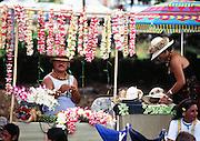 Lei seller, Kona, Big Island of Hawaii, Hawaii